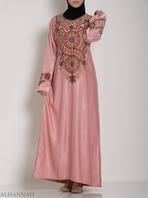 Pink Embellished Satin Embroidered Abaya ab706 (8)