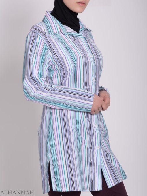 Striped Button Up Tunic st603 (3)