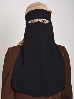 Saudi Style Solid Color One Layer Long Niqab NI158 (1)