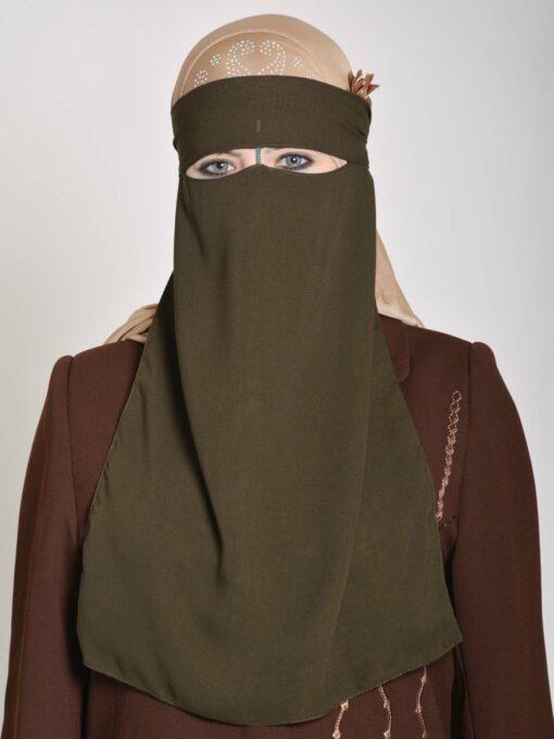 Saudi Style Solid Color One Layer Long Niqab NI158 (2)
