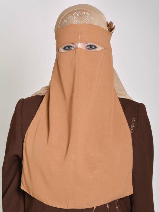 Saudi Style Solid Color One Layer Long Niqab NI158 (3)