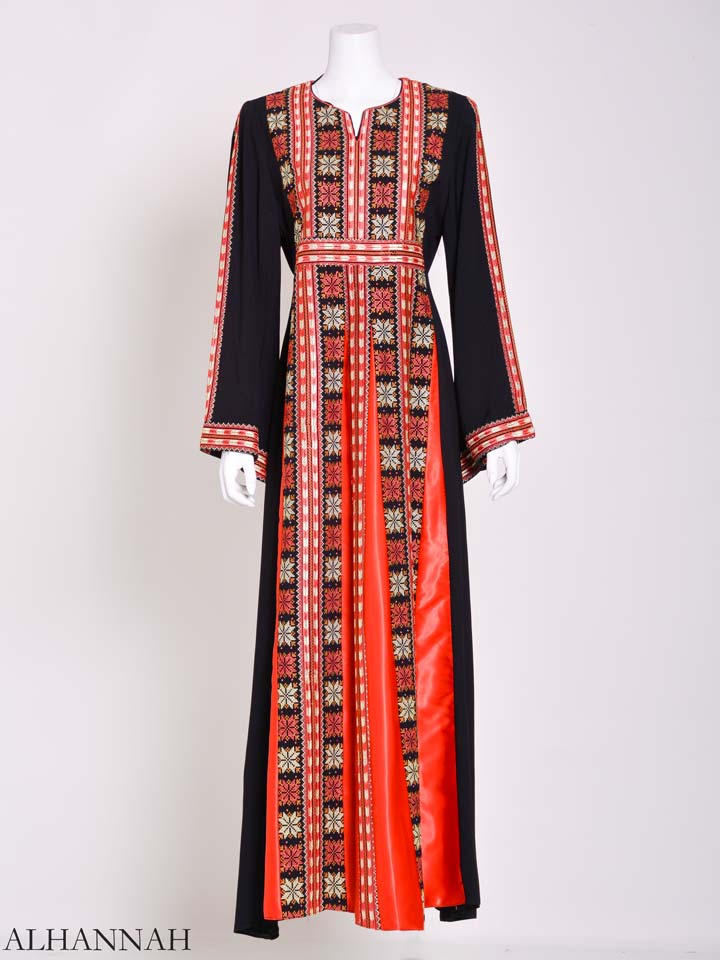 Embroidered Palestinian Fellaha Thobe with Satin th795 (13)
