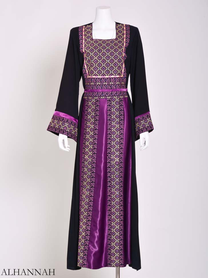 Embroidered Palestinian Fellaha Thobe with Satin th797 (9)
