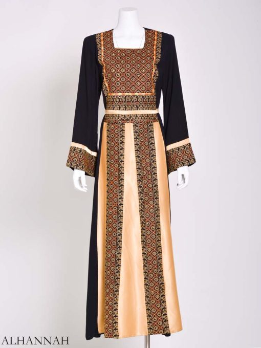 Embroidered Palestinian Fellaha Thobe with Satin th798 (7)