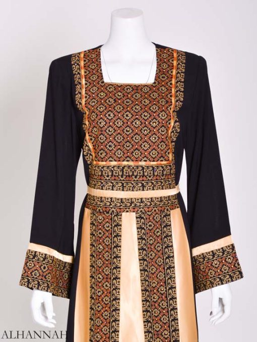 Embroidered Palestinian Fellaha Thobe with Satin th798 (8)