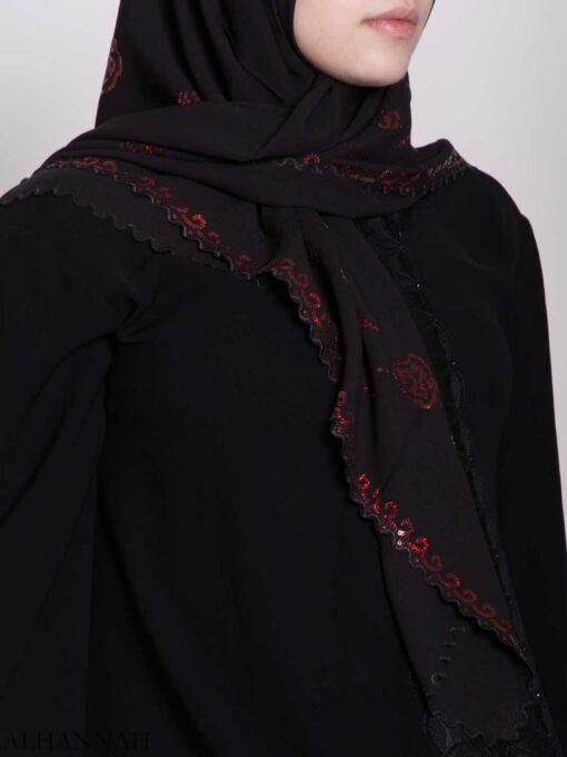 Floral Sequin Lined Square Hijab hi2161 (1)
