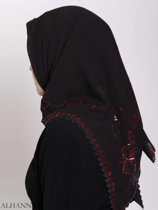 Floral Sequin Lined Square Hijab hi2161 (6)