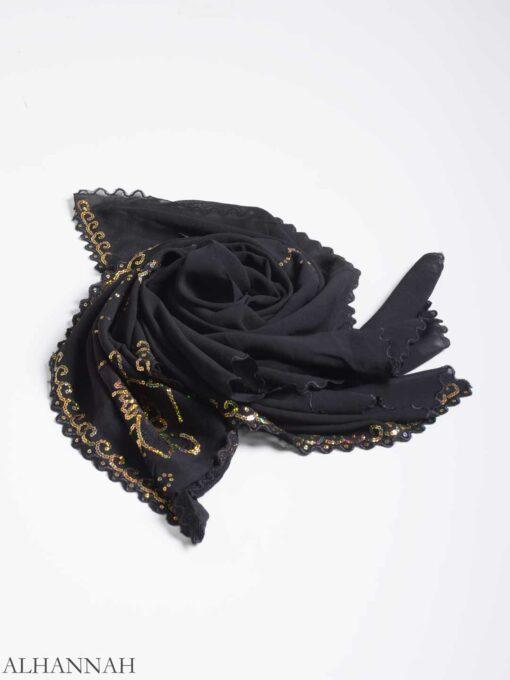 Floral Sequin Lined Square Hijab hi2161 (7)