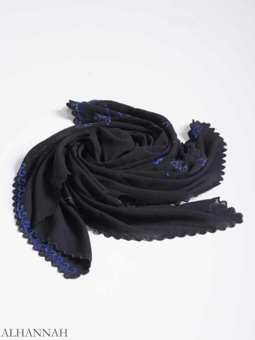 Floral Sequin Lined Square Hijab hi2161 (9)