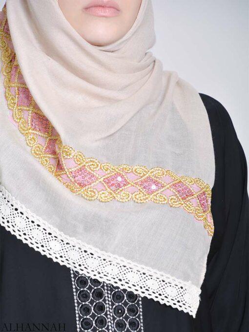 Golden Lined Sequine Hijab (2)