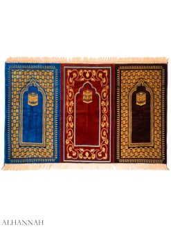 Kaaba-Motif-Tri-Color Triple Prayer Rug ii1160