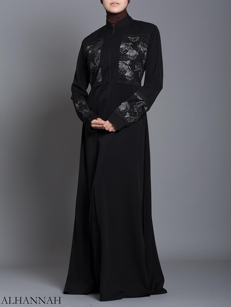 Netted Rose Abaya ab712 (2)