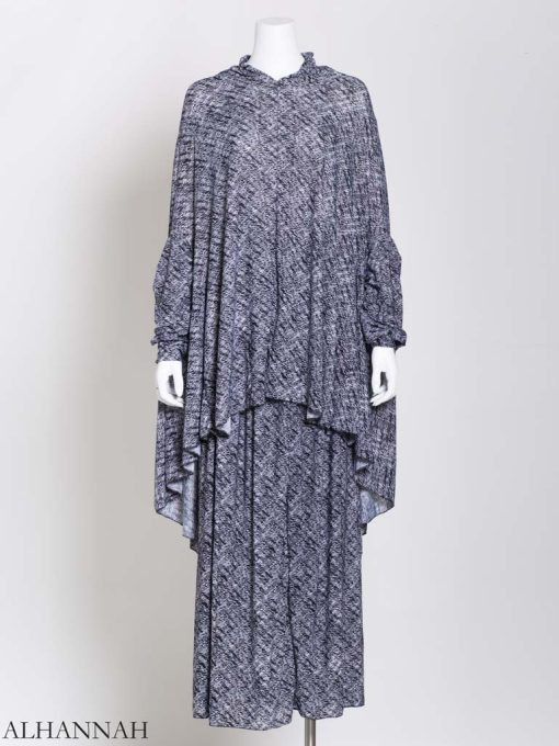 Paint Stroked Prayer Outfit in Charcoal