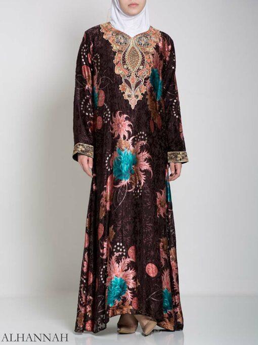 Paisley Floral Abstract Abaya ab709 (2)