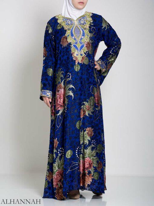 Paisley Floral Abstract Abaya ab709 (3)