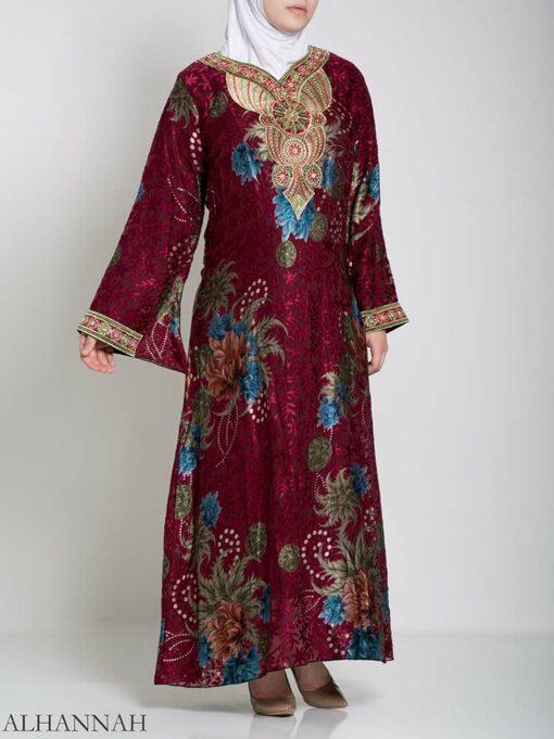Paisley Floral Abstract Abaya ab709 (4)