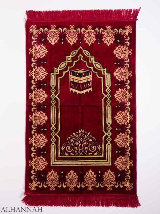 Red Arched Leaves Kaaba Motif Prayer Rug ii1151