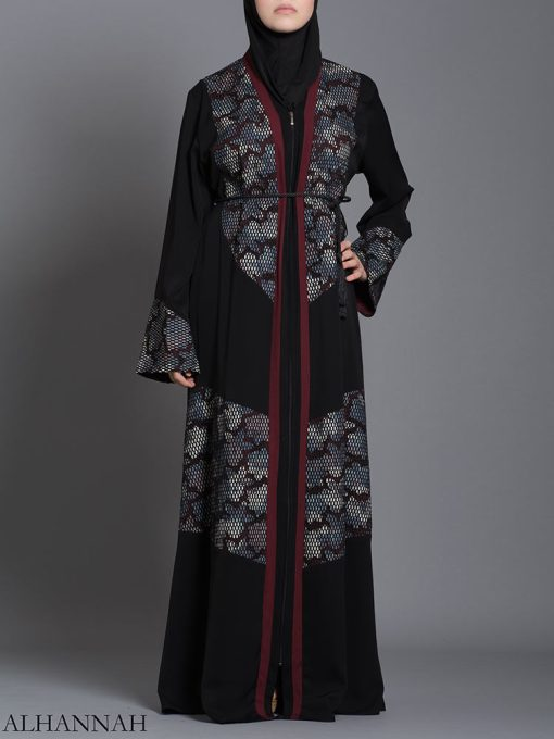 Red Floral Net Abaya ab710 (1)