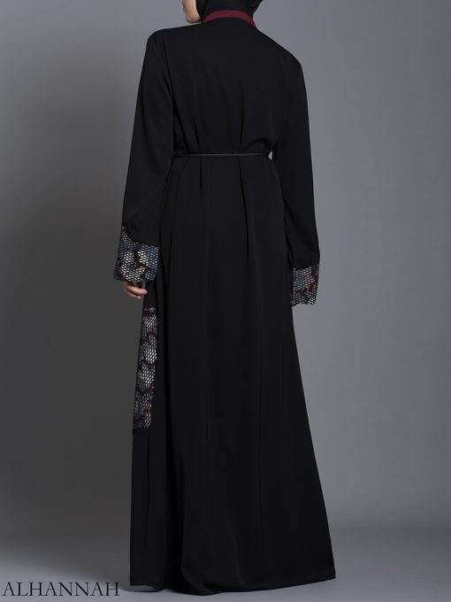 Red Floral Net Abaya ab710 (2)