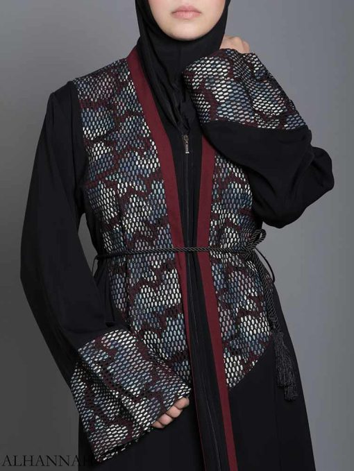 Red Floral Net Abaya ab710 (3)