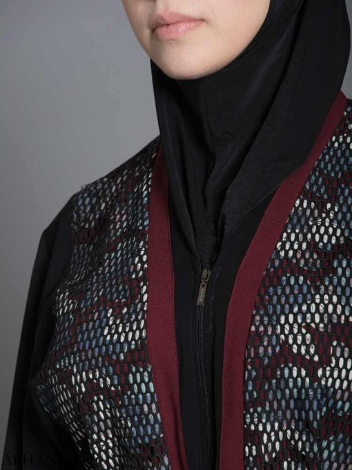 Red Floral Net Abaya ab710 (4)