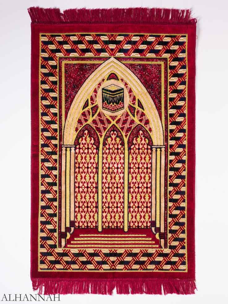 Red Mosque Interior Kaaba Motif Prayer Rug ii1153