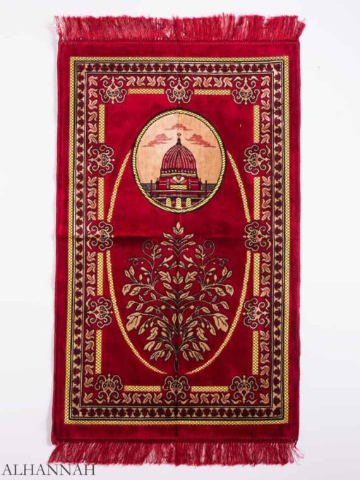 Red Sprouting Flora Mosque Motif Prayer Rug ii1156