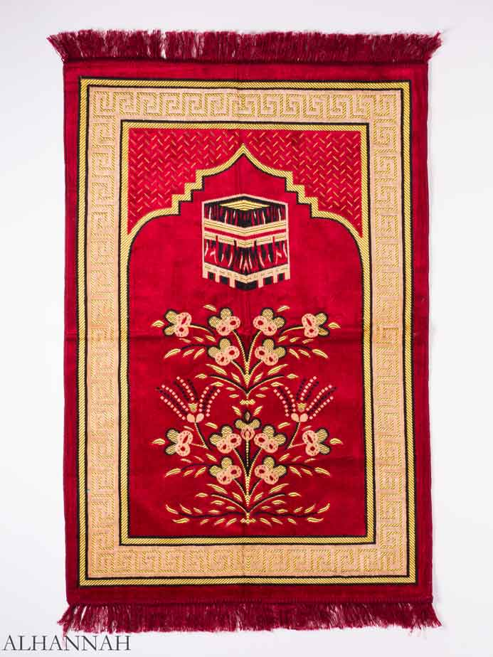 Red Sprouting Floral Kaaba Motif Prayer Rug ii1154