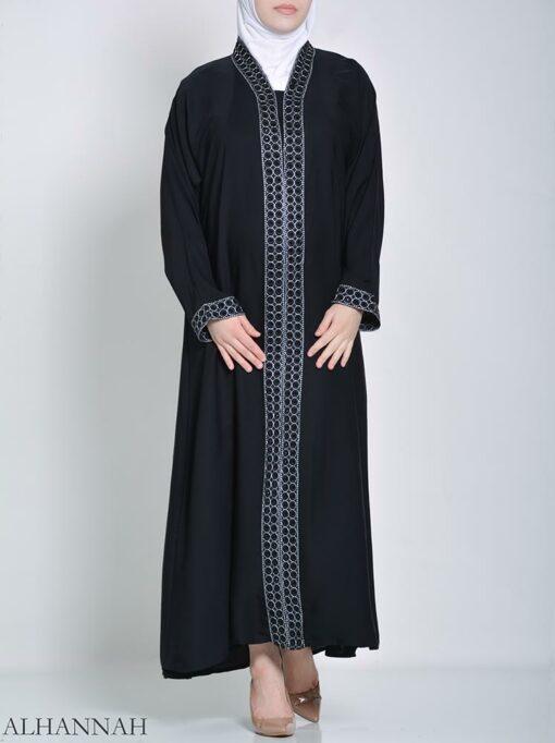 Rhinestone Circle Striped Abaya (2)