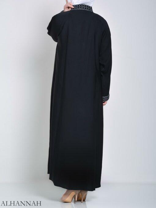 Rhinestone Circle Striped Abaya (3)