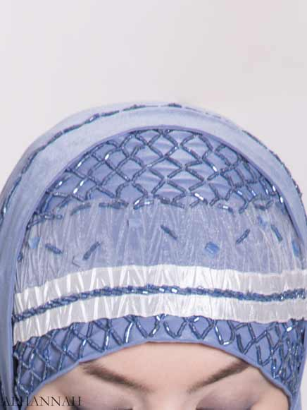 Ribboned Bugle Beaded Two-Piece Al-Amira Hijab hi2157 (2)