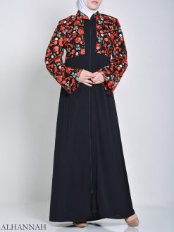 Rose Embroidered Abaya (2)