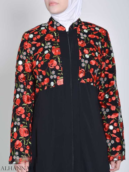Rose Embroidered Abaya (3)