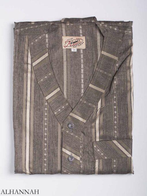 Striped Button-Up V-Neck Thobe me765 1 (1)