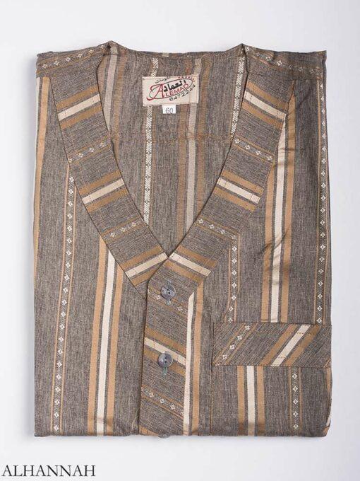 Striped Button-Up V-Neck Thobe me765 1 (2)