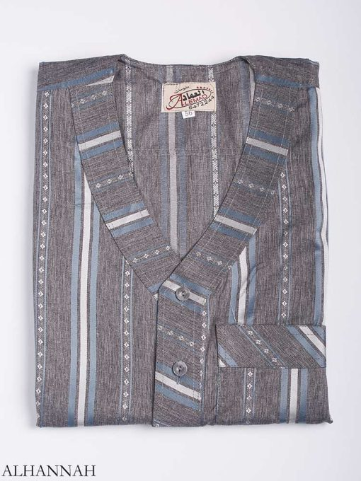 Striped Button-Up V-Neck Thobe me765 1 (3)