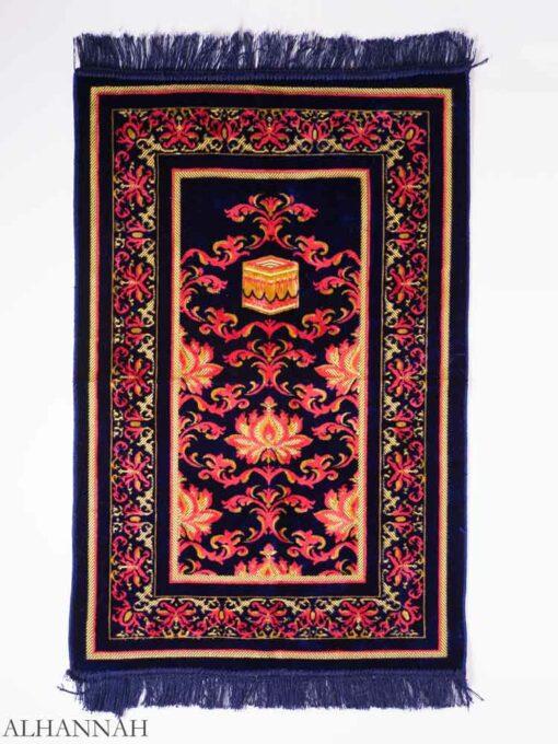 Turkish Prayer Rug Navy Floral Kaaba Motif ii1145