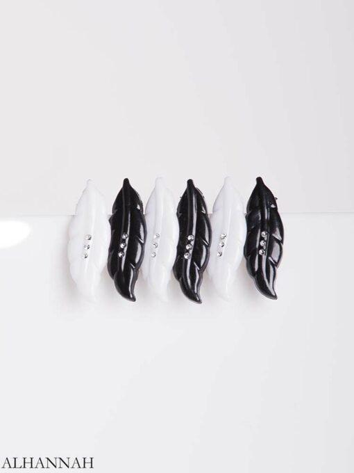 6 Pack Black and White Leaf Hijab Pins gi653