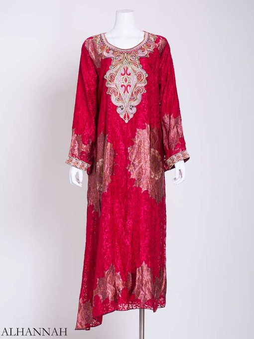 Abstract Arabesque Embroidered Floral Abaya ab718 (1)