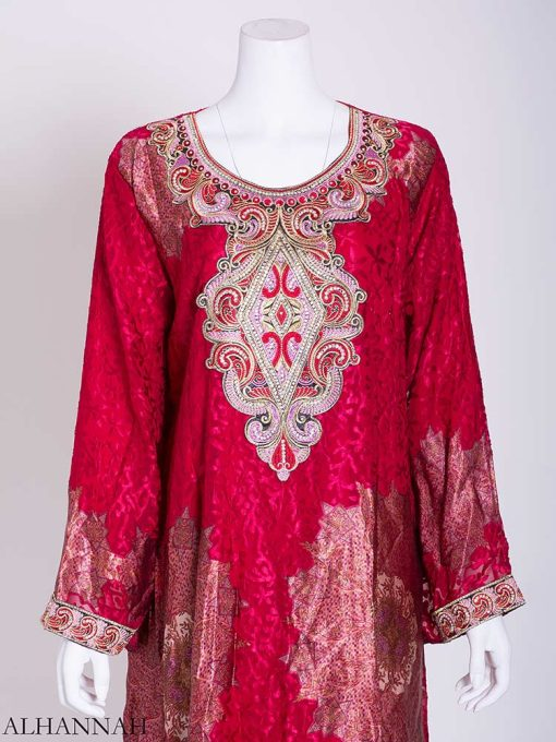 Abstract Arabesque Embroidered Floral Abaya ab718 (2)