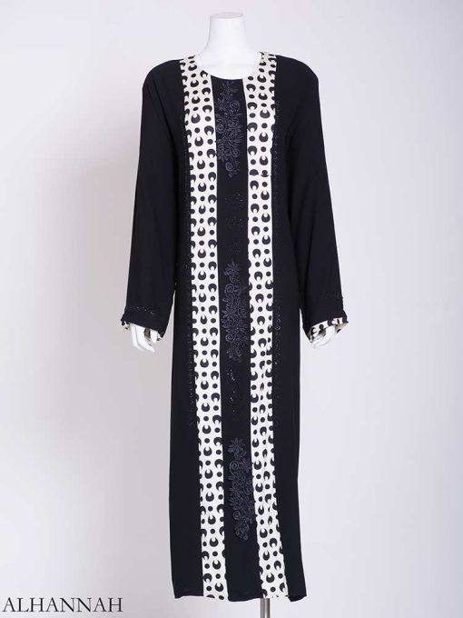 Abstract Looped Polka Dot Floral Embroidered Abaya ab722 (1)