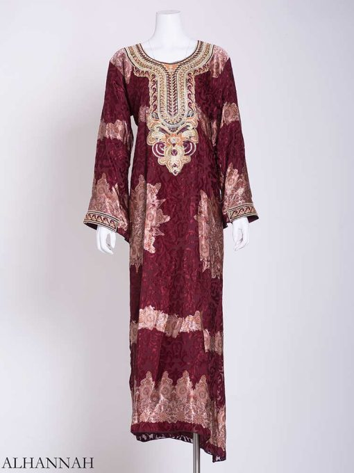 Abstract Petal Embroidered Floral Abaya ab723 (1)