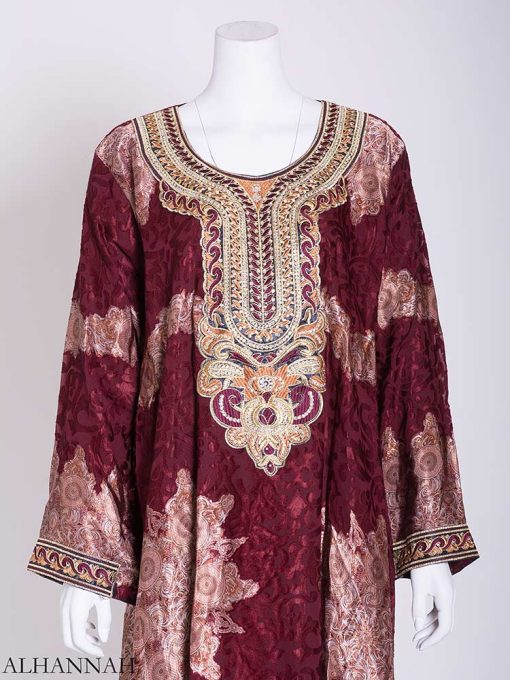 Abstract Petal Embroidered Floral Abaya ab723 (2)