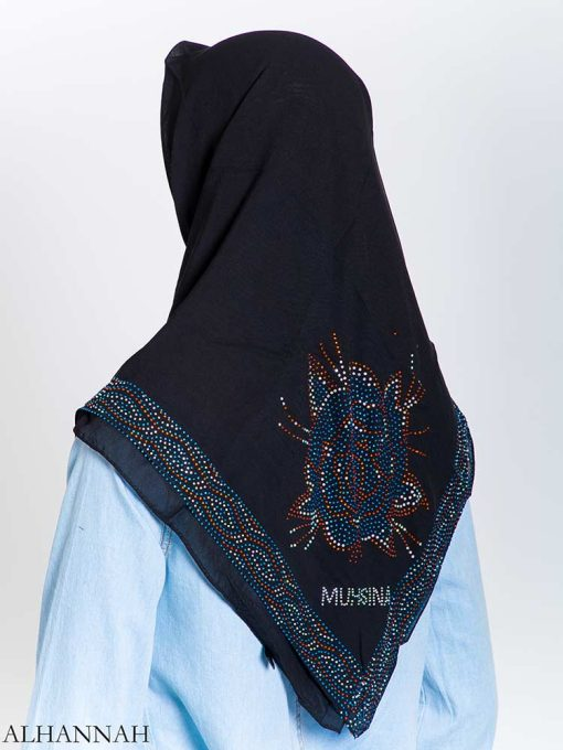 Aqua Rose Rhinestone Square Hijab hi2163