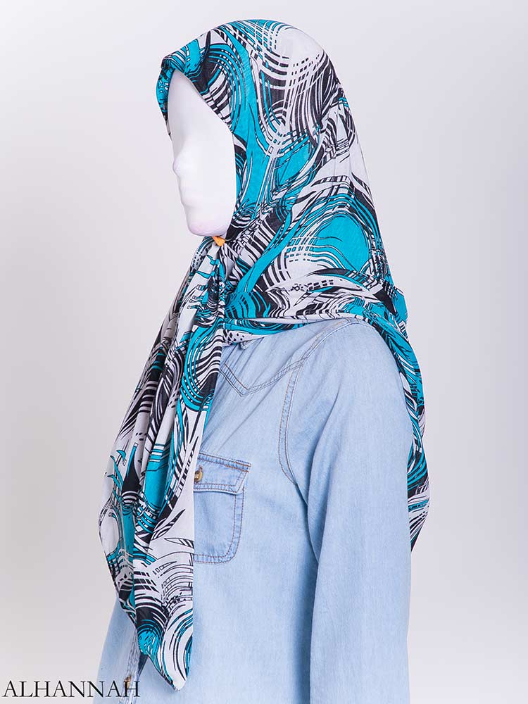Aqua Wave Striped Square Hijab hi2171