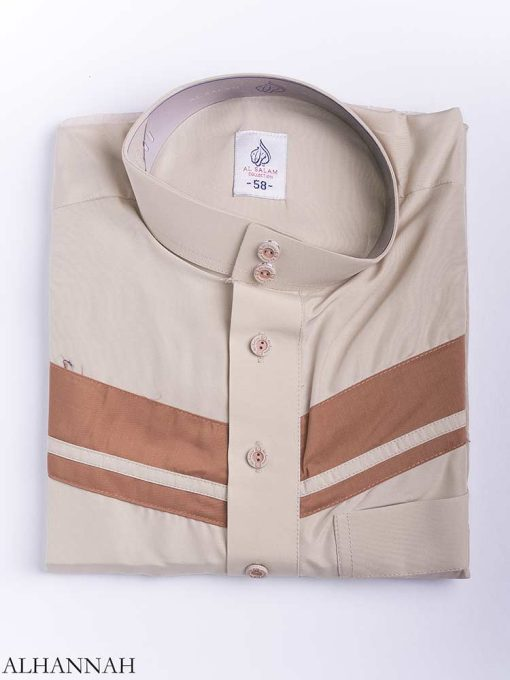 Double Striped Chest Accent Thobe me771 (11)