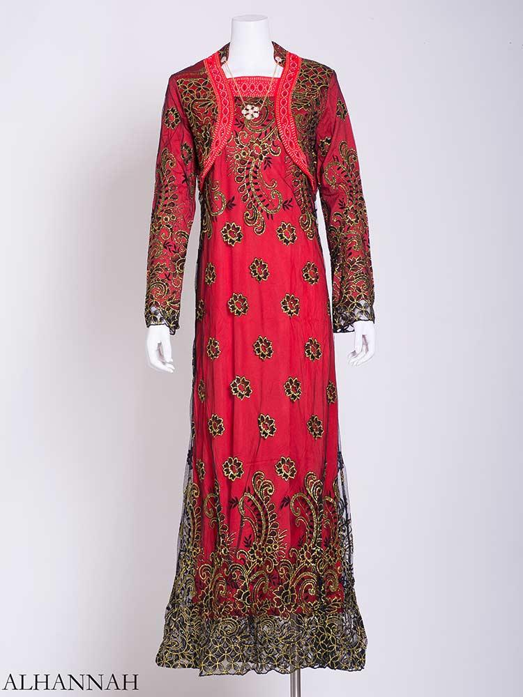 Embellished Necklace Floral Lace Abaya ab717 (1)