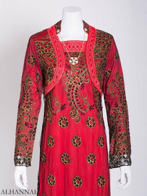 Embellished Necklace Floral Lace Abaya ab717 (2)