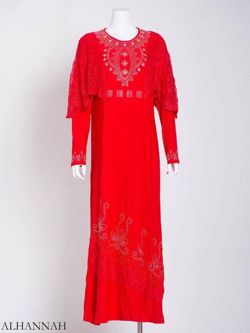 Embellished Rhinestone Laced Shoulder Abaya ab713 (2)