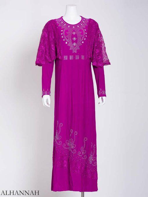 Embellished Rhinestone Laced Shoulder Abaya ab713 (3)
